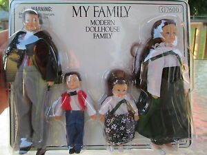 Dollhouse Miniatures ~ My Doll Family Set of 4 ~ Victorian, Brunette ~ G7600
