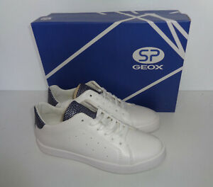 GEOX Ladies White Navy Womens Casual Trainers Shoes RRP £67 New UK Size 4