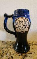 Renaissance Mug Cup Beer Stein Blue Glazed Pottery Dragon 2005 Vintage