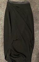 WILLOW Black Wrap Style Midi Skirt Sz 8 Rrp$350 Designer Wardrobe Clearout