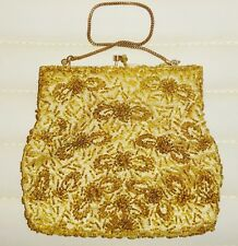 women's lady vintage gold handmade beaded evening Bag ,Clutch,purse with a chain