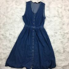 Eddie Bauer Women's Denim Dress Blue Jeans Sleeveless Pockets Full Button Up L