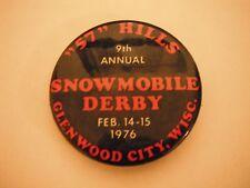 Vintage 1976 57 Hills Snowmobile Derby Pinback Button