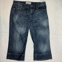 Maurices Womens 5/6  Crop Capri Jeans Blue Dark Wash Wiskered Distressed Denim
