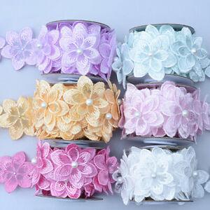 1Yard Flower Lace Trim Beaded Ribbon Embroidered Edge Sewing Wedding Decor DIY