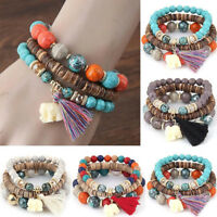 Vintage Multilayer Bangles Ethnic Bracelet National Wind Pendant Beaded Bracelet