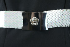 Vintage Stretch Belt M L White Plastic Snake Fish Scale Silver Metal Buckle Wide