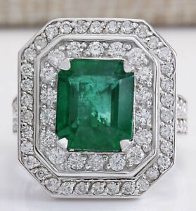 4.55 Carat Natural Emerald and Diamond 14K White Gold Engagement Ring