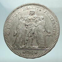 1876 A FRANCE Hercules Group Antique Genuine Silver 5 Franc French Coin i80307