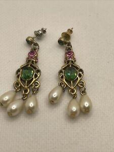 1928 Designer Earrings Green and Pink Rhinestones Simulated Pearls Dangle
