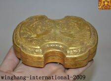 "4""Rare China Dynasty palace silver 24k gold Gilt Phoenix bird jewelry Box Boxes"