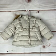 Gap Long Sleeve Ruffled Hooded Winter Baby Girl Size 6-12M Beige Puffer Jacket