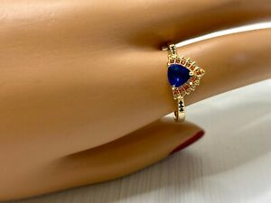 Gold Vermeil Cocktail Statement Ring Lab Created Sapphire & Ruby Trilliant sz 10