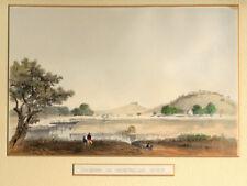 Antique color litho print CROSSING THE CHOWCHILLAS RIVER 1853 Railroad Survey