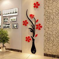 3D Flower DIY Mirror Wall Decals Stickers Art Home Room Vinyl Decor Beautiful