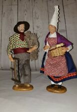 Pair of Vintage Andre Guigon French Santon Man and Woman Figurines Signed 1970s