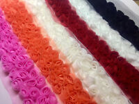 3 row rose trimming - Rosette Flower Lace Fabric Trim - Bridal Net Tulle - by M