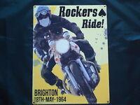 Rockers Ride Brighton 1964 Run Picture Plaque Metal Sign Motor Bike Scooter Mods