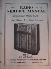 Service Manual Original Vintage Westinghouse Radio Model 898  Canada