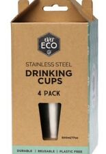 Ever Eco Stainless Steel Reusable Drinking Cups - 4 x 500ml   Durable   Friendly