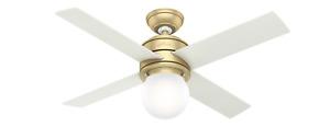 Hunter 44 Inch Ceiling Fan Hepburn with Light Modern Brass 52313