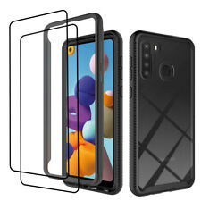For Samsung Galaxy A21 Case Shockproof Bumper Clear Cover+Full Tempered Glass