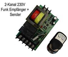 433,92 MHz 230 V 12 A 2 Canal Universa Radio Émetteur Récepteur Interrupteur + télécommandes