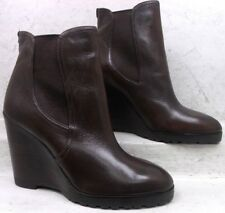 Michael Kors Womens Thea Wedge Brown Leather Pull On Ankle Boots Shoes size 11 M