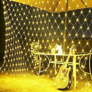 Outdoor LED String Fairy Net Mesh Curtain Lights Waterproof Christmas Garden