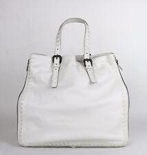 BOTTEGA VENETA Milk White Leather Zip Around Tote Bag Woven Detail 261226 9012