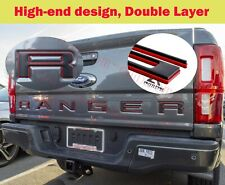 Double Layer Tailgate Insert Letters fits 2019-2020 Ford Ranger (BLACK RED )