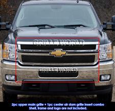 Chevy Silverado 2500HD/3500HD Black Billet Grille Grill Combo Insert 2011-2014