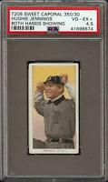 Rare 1909-11 T206 HOF Hughie Jennings Both Hands Showing Sweet Caporal PSA 4.5
