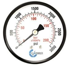 "2-1/2"" Pressure Gauge - Black Steel Case, 1/4""NPT, Back Mnt. 0-3000 PSI"