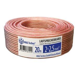 Câble Enceinte haut Parleur 20m 2 x 2.5 mm² 100% CCA Cuivre Audio Meilleur Hifi
