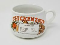Chicken Soup Mug Bowl With Recipe Large Microwave Safe Ceramic Vintage VTG