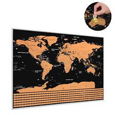 Grande SCRATCH OFF mapa del mundo Póster con ESTADOS Y País Banderas 82 x 59cm