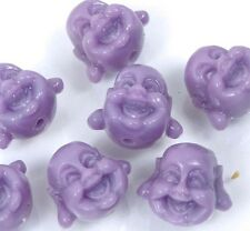 7 small Lavender Resin Coral Happy Buddha 3-D Beads 12x14mm