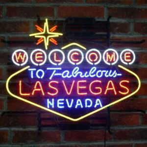 "24""x20""Welcome to Fabulous Las Vegas Nevada Neon Sign Light Casino Wall Hanging"