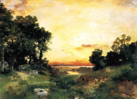 Oil art Thomas Moran - Sunset, Long Island Sound beautiful landscape on canvas