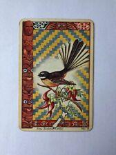 Vintage New Zealand Fantail Playing Swap Card, Illustration Bird Maori Islander