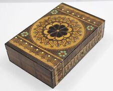 Vintage TETA Wooden Hand-painted Hand-carved Floral Hinged Varnished Wood Box