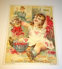 Antique Victorian American Diamond Dyes Advertising Trade Card Dunked Cat & Doll