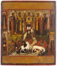 Vecchia GRANDE ORIGINALE dipinti eseguite a mano icona russa 19 JH. Icon
