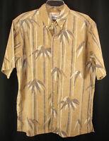 Alfred Shaheen Reyn Spooner Reverse Print Hawaiian Aloha Shirt Brown Bamboo L