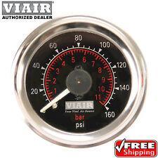"""VIAIR 90082 Air Pressure 2"""" 160psi GAUGE METER  DUAL NEEDLE BLACK FACE DUAL READ"""