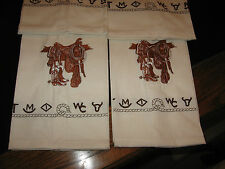 WESTERN KITCHEN TOWELS SADDLE BOOTS EMBROIDERED BRANDED DESIGN 14X24 100% COTTON
