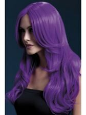Khloe Wig Neon Purple Long Wave  New Adult Halloween Cristmas Womens by Fever