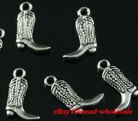 Free ship 15pcs tibetan silver boot charm pendants