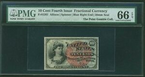 """1869-75  10 CENTS FRACTIONAL CURRENCY FR-1261 CERTIFIED BY PMG """"GEM NEW"""" 66-EPQ"""